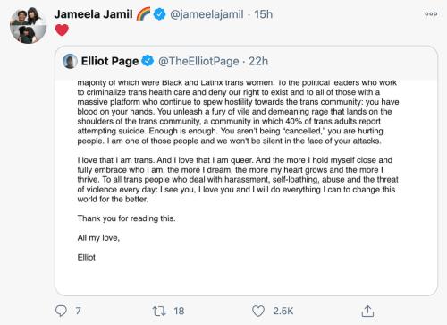 La esposa de Elliot Page muestra apoyo después de que el actor se declara transgénero